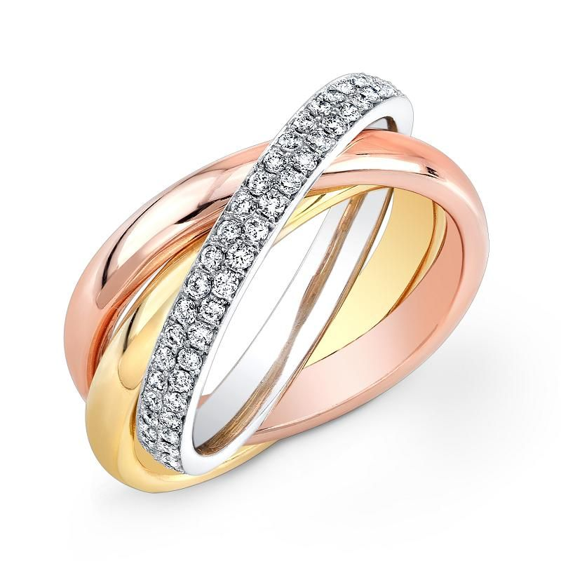 1.00 ct Tri Color Rose Yellow White Gold Rolling Eternity Ring