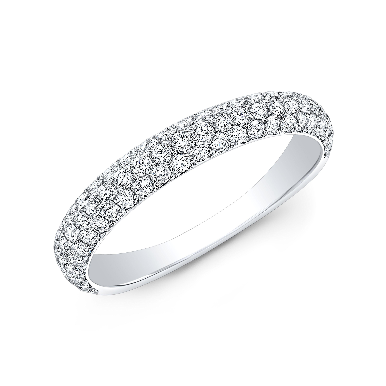 3 Row Micro Pave Wedding Band Diamond Mansion