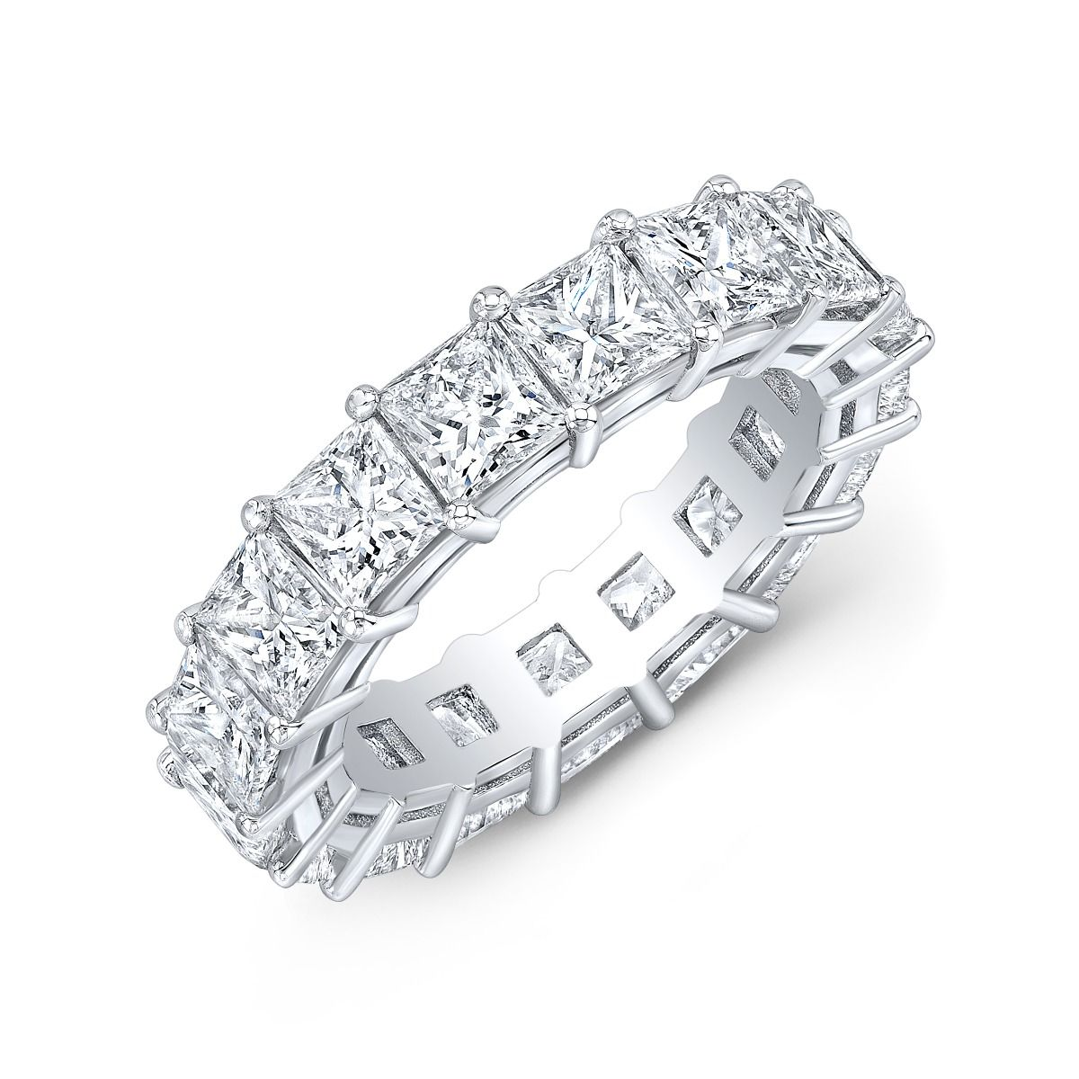 5 Carat Princess Cut  Eternity Ring In White Gold