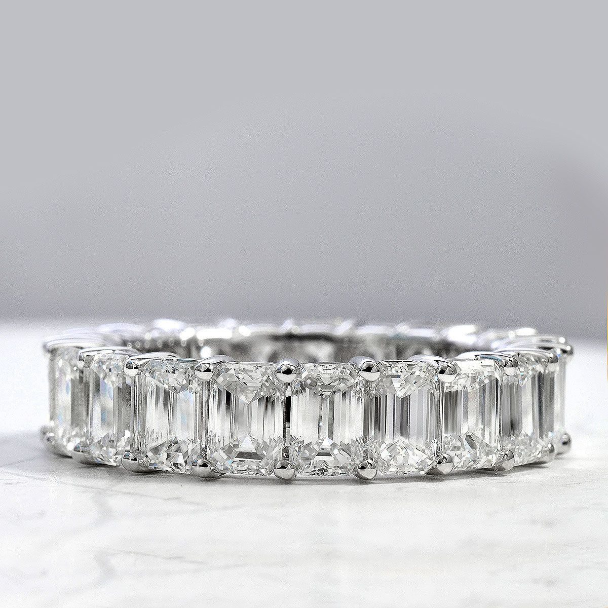 8 Ct Emerald Diamond Women Wedding Band Ring 18K White Gold Finish Eternity