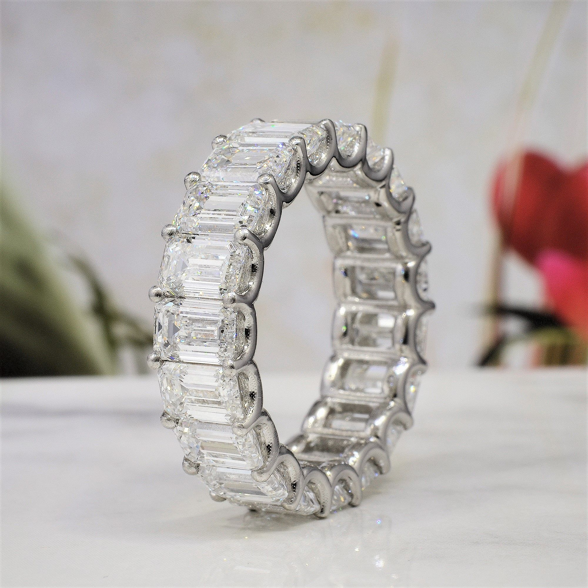 9 Carat  Emerald Cut Diamond Eternity Ring In White Gold and Platinum - U-Setting