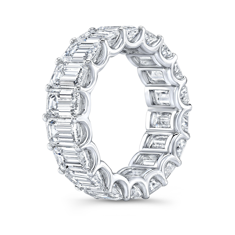 Emerald Cut Eternity Ring U-Setting 9 Carats Diamond