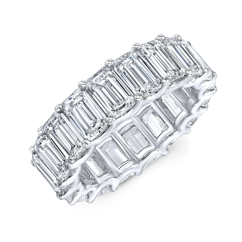 Emerald Cut Eternity Band U-Setting 9 Carats Diamond