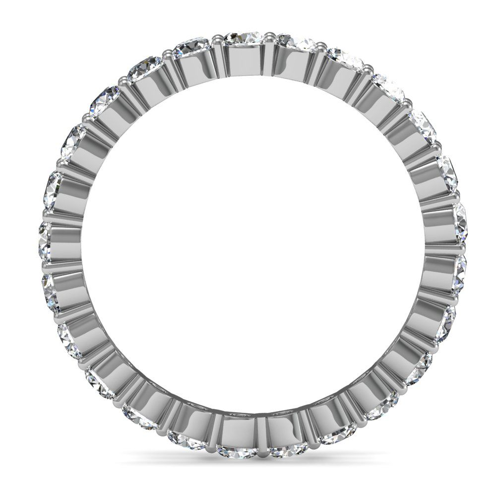 Ladies 1.5 Ct Contoured Common Prong Pave Eternity Anniversary Ring-14k White Gold