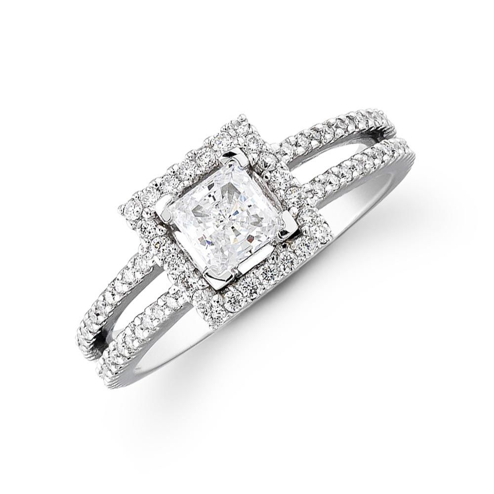 1.63ct Princess Cut Diamond Engagement Ring 14K F VS2