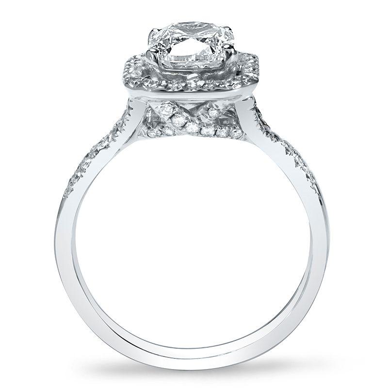2.39ctw Natural Emerald Art Nouveau Halo Diamond Engagement Ring VS2-H GIA