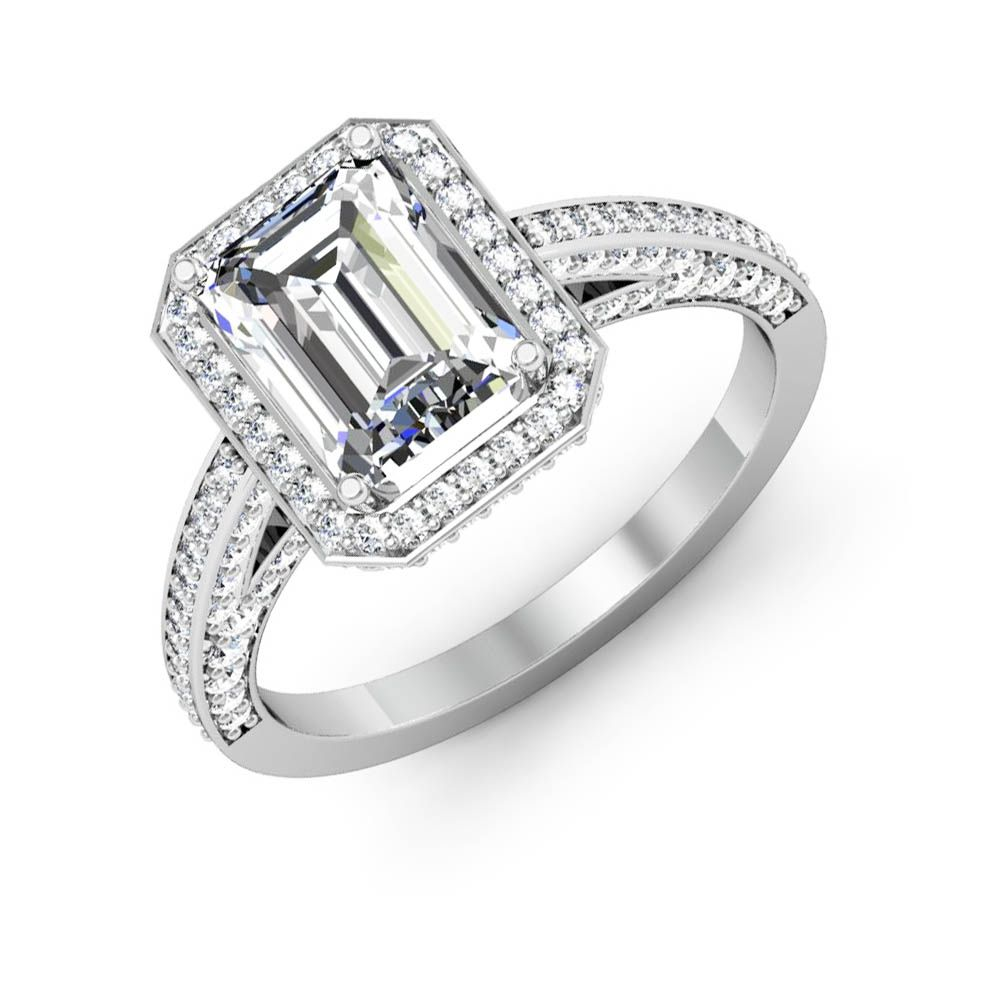 2.71ctw Natural Emerald GIA VS2-H Pave Halo Diamond Engagement Ring