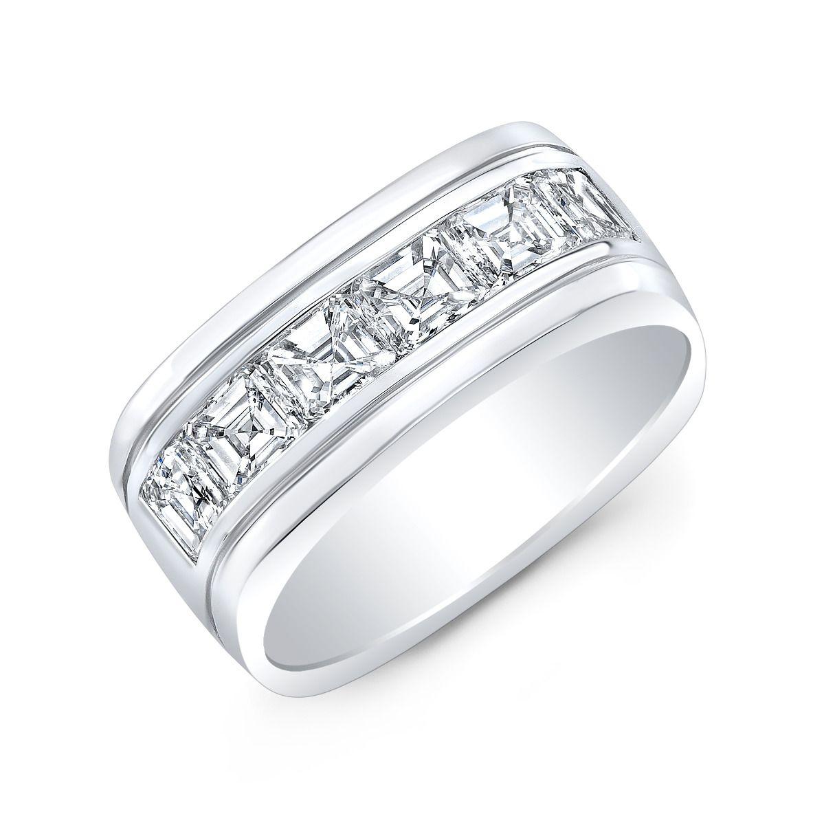 1.50ct Asscher Signet Channel Natural Diamond Men's Band
