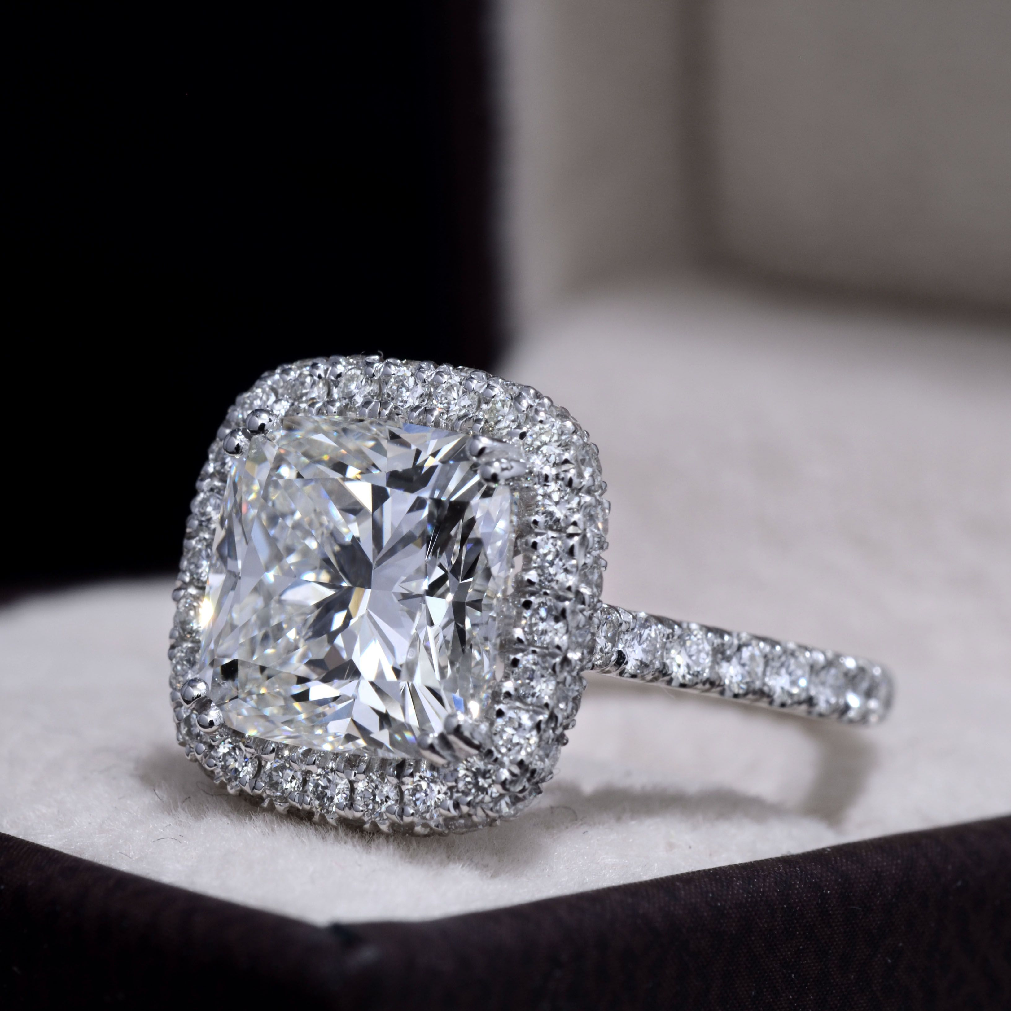 4.30 TCW Natural Cushion Cut Halo Double U-Pave Diamond Engagement Ring
