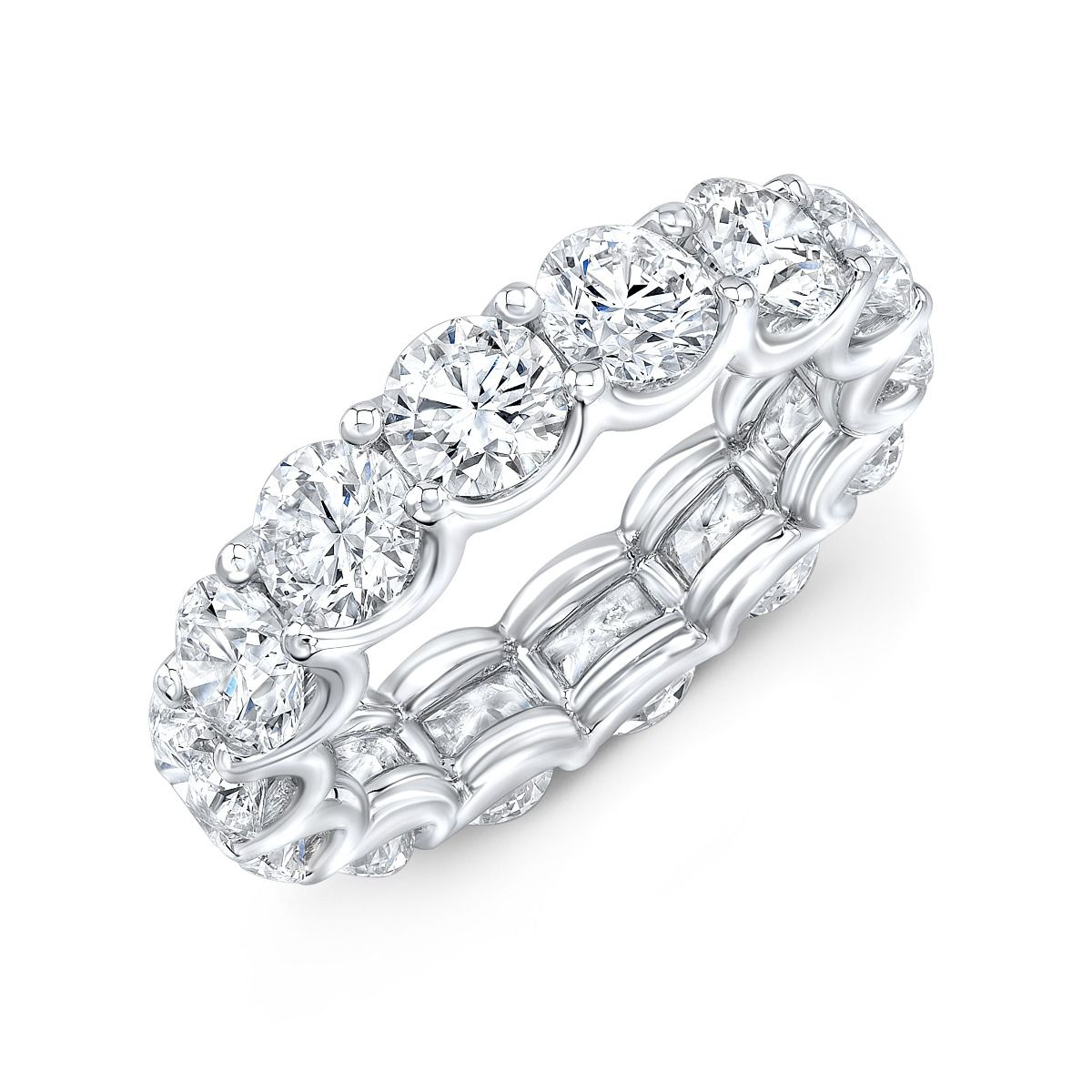 Round Cut Diamond Eternity Band in White Gold - 7 Carats Total