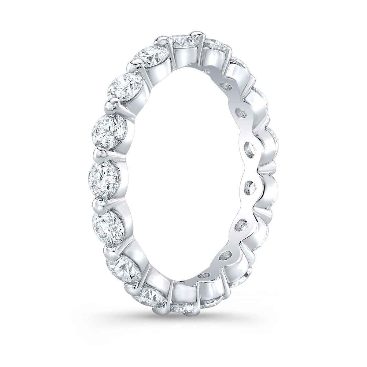 Floating Round Eternity Band | Diamonds In White Gold