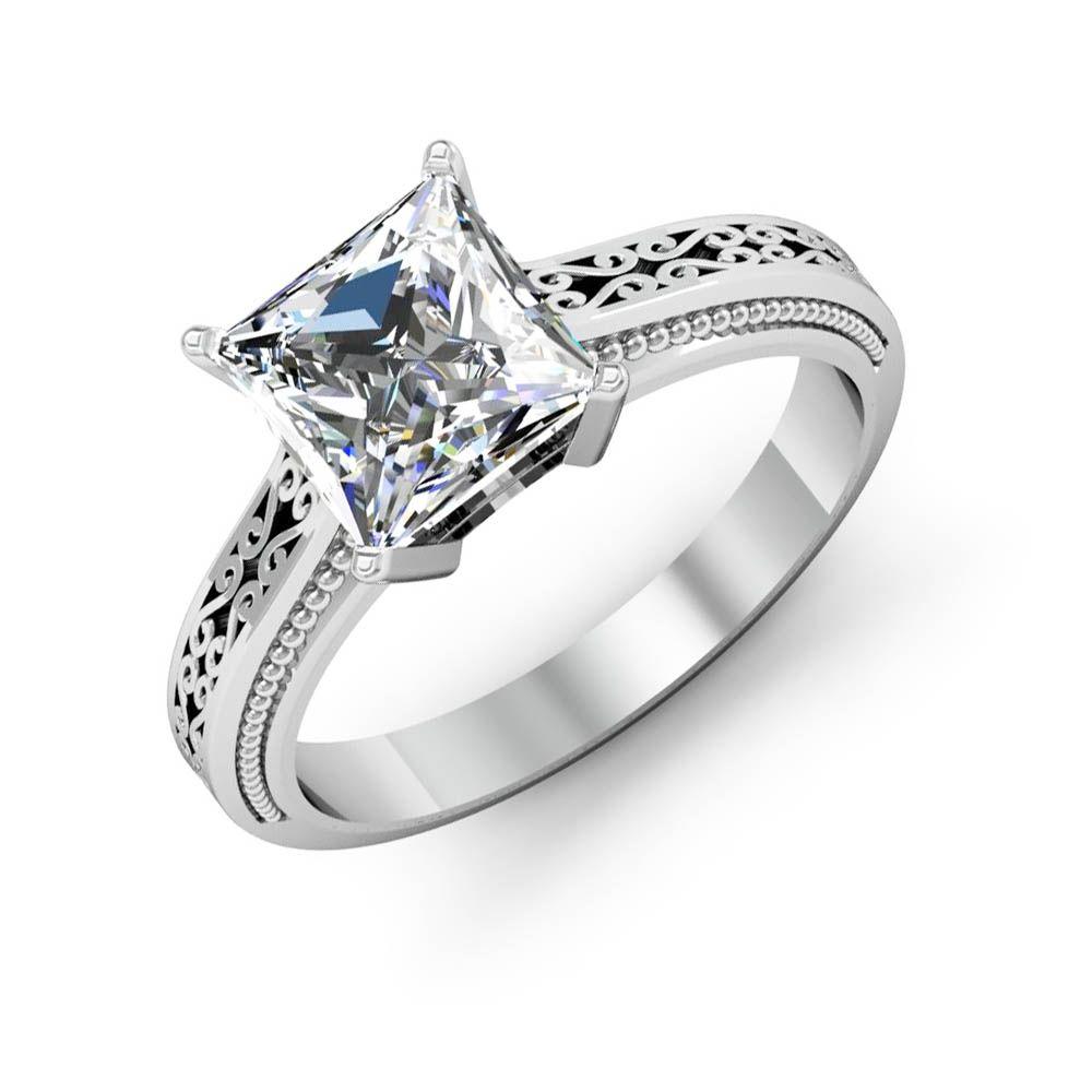 1ct Princess Cut Vintage Solitaire Natural Diamond Engagement Ring Gia Diamond Mansion