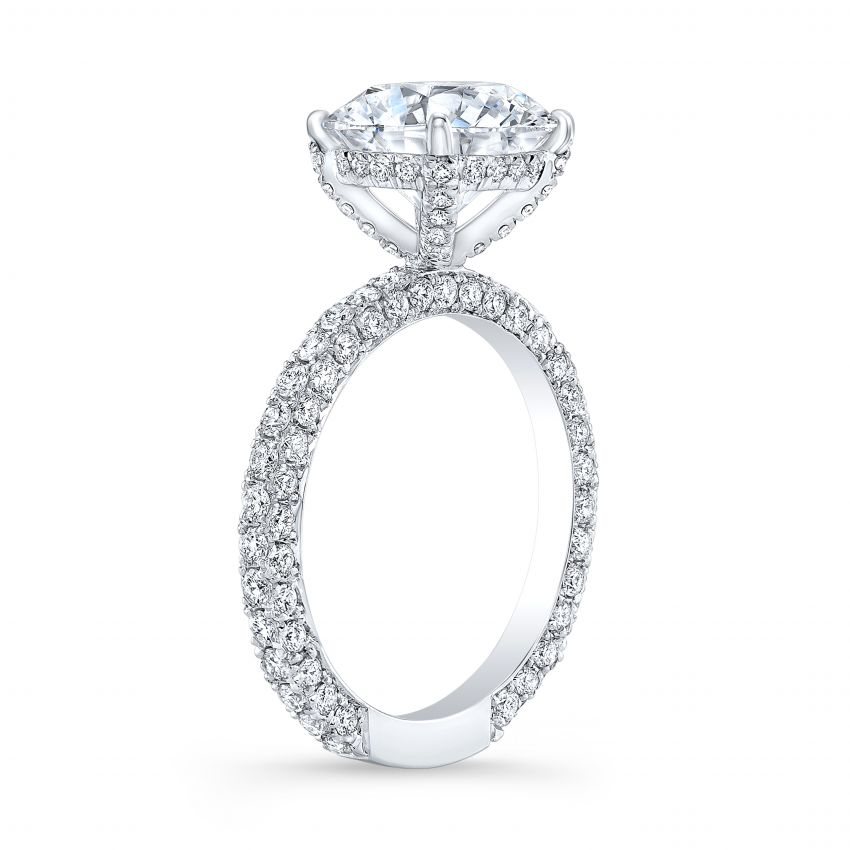 1 8 Ct Round Cut Natural Diamond Unique 3 Row Micro Pave Diamond Ring Gia Certified
