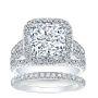 Halo 3 Row Split Shank Diamond Engagement Ring