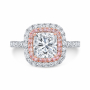 Double Halo Pave W/ Pink Diamonds Engagement Ring