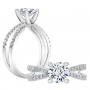 2 Row Pave Split Twisted Shank Diamond Engagement Ring