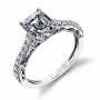 Parade Design Hemera Bridal Scroll Design Milgrain Pave Ring