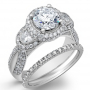 Halo Pave with Half Moon Side Stones Engagement Ring