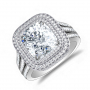 Double Halo 3 Row Shank Micro Pave Engagement Ring