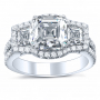 3 Stone Natural Halo Pave Diamonds Engagement Ring
