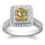 Natural Emerald Halo Art Deco Diamond Engagement Ring