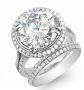 Halo Cathedral Split Shank Diamond Engagement Ring