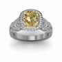 Contemporary Pave Design Halo Natural Diamonds Engagement Ring