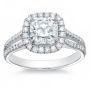 Halo Split Shank Diamond Engagement Ring