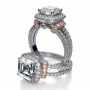 Halo Split Shank Shoulder Pave Diamond Engagement Ring