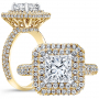 Vintage Double Halo Pave 3 Row Pave Diamond Engagement Ring