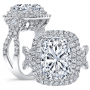 Double Halo Pave Vintage Curved Shank Diamond Engagement Ring
