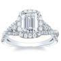Natural Diamonds Halo Sidestones Engagement Ring Mounting