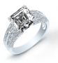 Baguette and 3-Sided Pave Diamond Engagement Ring