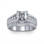 Cathedral Shank Pave Natural Diamonds Engagement Ring