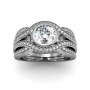 Classic Bezel Swirl Shank Pave Natural Diamonds Engagement Ring