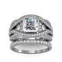 Classic Bezel Swirl Shank Pave Natural Diamonds Engagement Ring