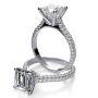 Three Row Pave Diamond Engagement Ring