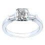 3-Stone Baguette Sidestone PaveNatural Diamonds Wedding Set