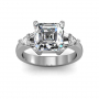 Baguettes and Trillion Sidestones Natural Diamonds Ring