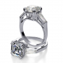 Natural Baguette Side Stones Diamond Engagement Ring