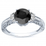3-Stone Pave w/ Half-Moon Sidestones Diamond Ring