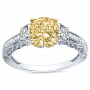 3-Stone Pave w/ Half-Moon Sidestones Diamond Ring