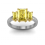 4-Prong 3-Stone with Radiant Cut Sides Diamonds Engagement Ring