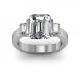 Bar Setting w/ Emerald Cut Sidestones 3-Stone Band