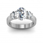 Bar Setting w/ Oval Cut Sidestones 3-Stone Band