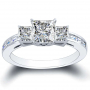 3-Stone 3-sided Channel Set w/ Princess Sidestones Diamond Ring