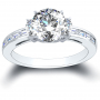 3-Stone 3-sided Channel Set w/ Round Sidestones Diamond Ring
