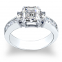 3-Stone Dual Claw Prong w/ Asscher Sides Channel Diamond Ring