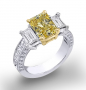 Natural Emerald 3-Stone Channel Pave Set Diamond Engagement Ring