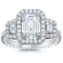 Halo Pave Trapezoid Side Stones Diamond Engagement Ring